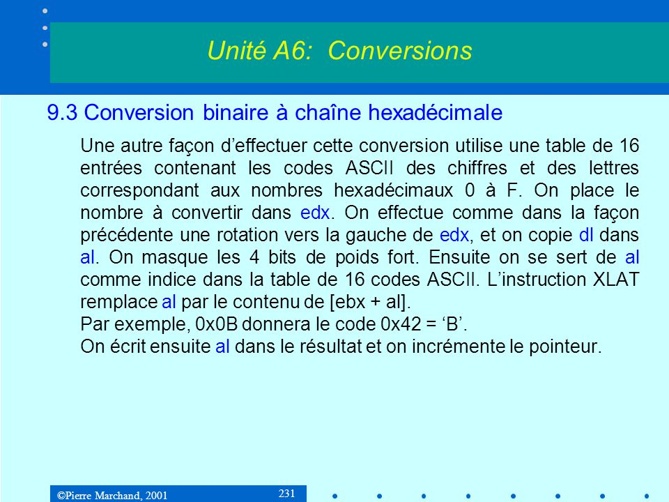 ©Pierre Marchand, 2001 231 9.3 Conversion binaire à chaîne hexadécimale Une autre façon deffectuer cette conversion utilise une table de 16 entrées co