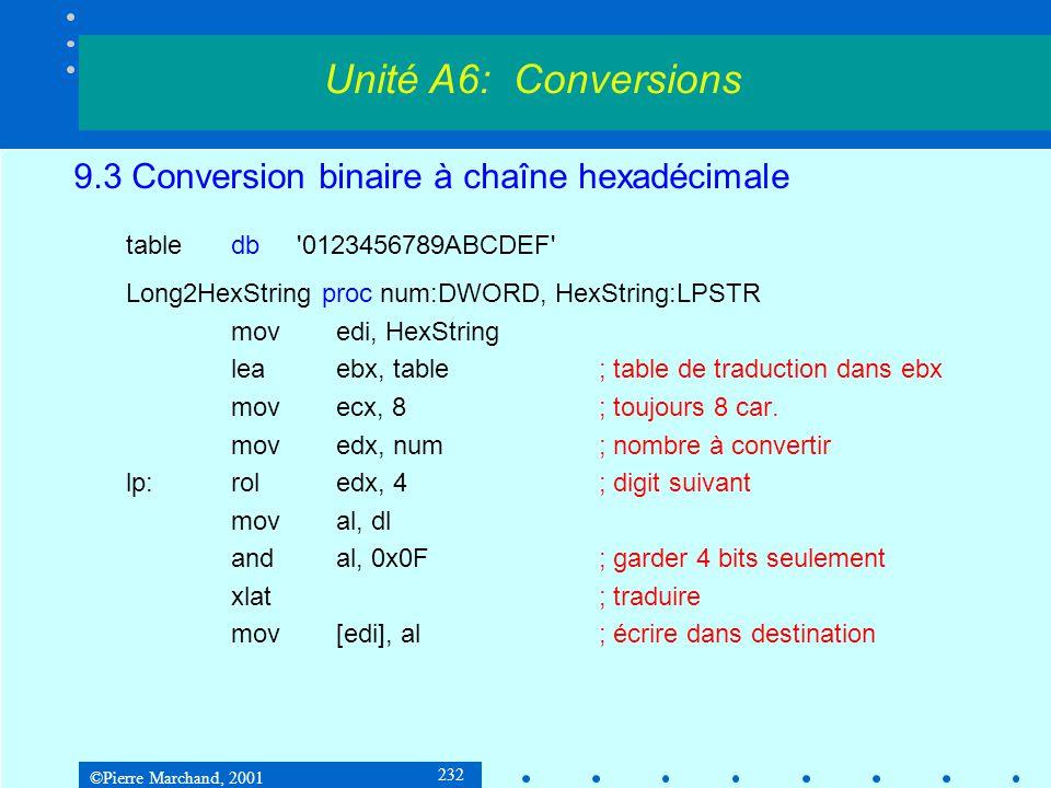 ©Pierre Marchand, 2001 232 9.3 Conversion binaire à chaîne hexadécimale tabledb '0123456789ABCDEF' Long2HexString proc num:DWORD, HexString:LPSTR move