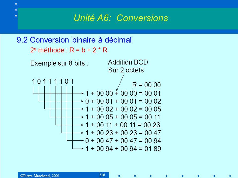 ©Pierre Marchand, 2001 219 9.2 Conversion binaire à décimal 2 e méthode : R = b + 2 * R Exemple sur 8 bits : Il faut ensuite décompacter les octets pour les convertir en ASCII.