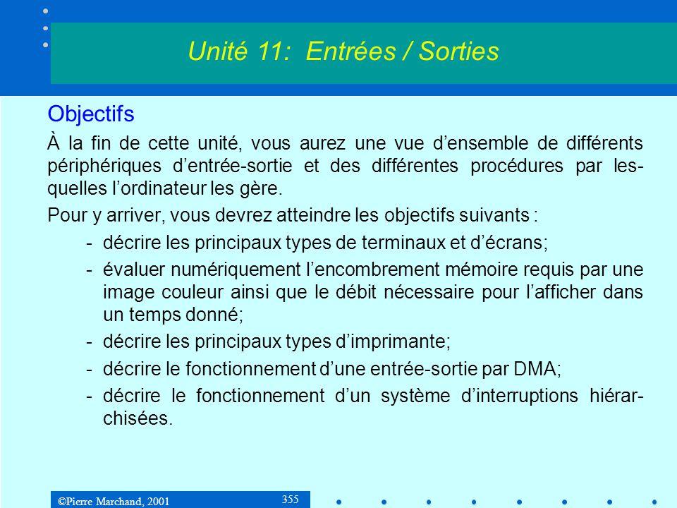 ©Pierre Marchand, 2001 356 10.2 Terminaux interactifs Un terminal interactif est un périphérique permettant à lutilisateur une communication dans les deux sens avec lordinateur.