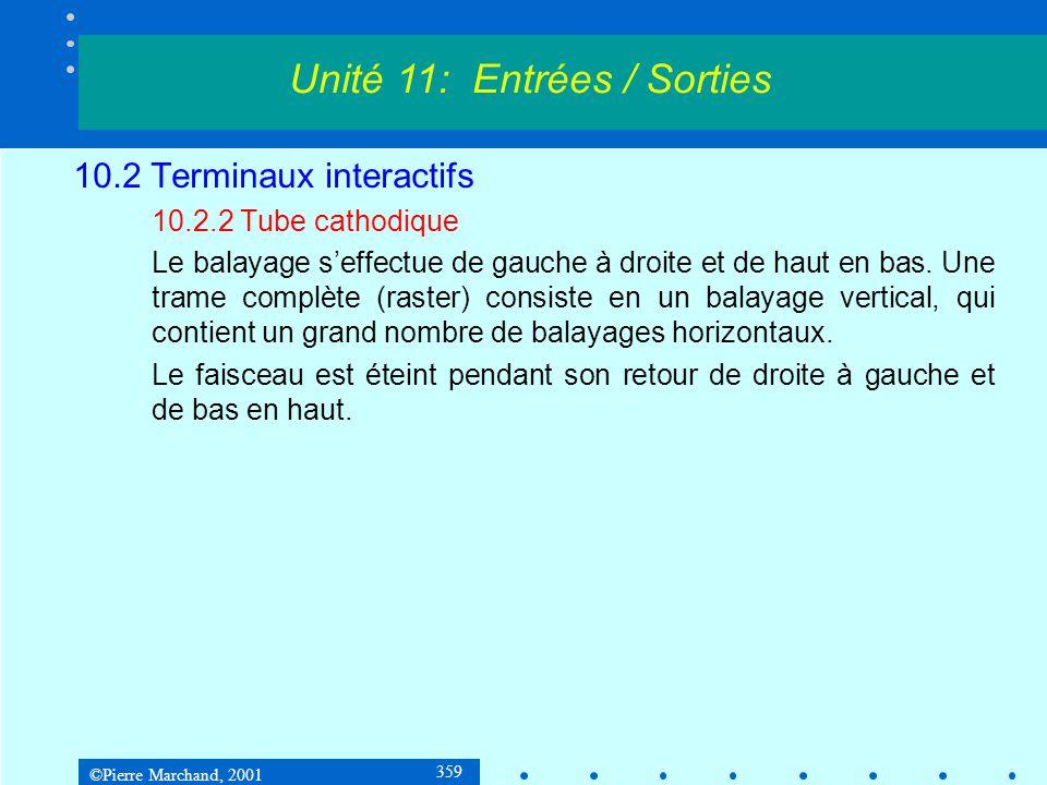 ©Pierre Marchand, 2001 390 10.5 Architectures et procédures dentrée / sortie 10.5.3 Contrôleurs de périphériques USB Unité 11: Entrées / Sorties Frame 0Frame 1Frame 2 Frame 3 SOF INDATAACK SYNPIDDonnéesCRC Paquets provenant du hubracine DATAACKOUT SYNPIDDonnéesCRC Paquets provenant du hubracine Paquet de données provenant du périphérique ACK du périphérique 0123 1 ms SOF = Start of Frame