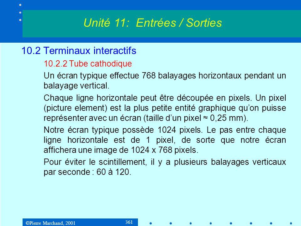 ©Pierre Marchand, 2001 372 10.2 Terminaux interactifs 10.2.3 Écrans graphiques Écran LCD Deux technologies : matrice passive et matrice active (1 transis- tor par pixel).