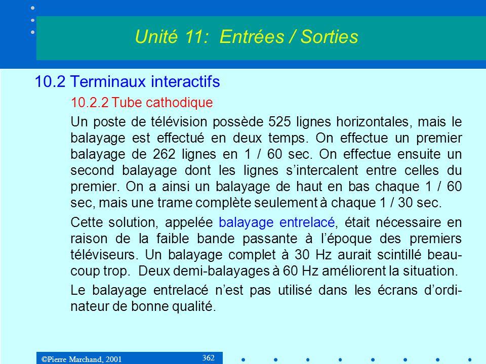 ©Pierre Marchand, 2001 363 10.2 Terminaux interactifs 10.2.2 Tube cathodique Dimensions standard pour les écrans dordinateur : 640 x 480 800 x 600 832 x 624 1024 x 768 1152 x 870 1280 x 960 1280 x 1024 1600 x 1200 1920 x 1080 Unité 11: Entrées / Sorties