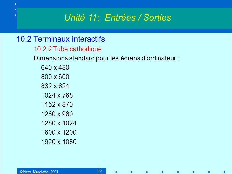©Pierre Marchand, 2001 364 10.2 Terminaux interactifs 10.2.3 Écrans alphanumériques Chaque caractère est formé par une configuration de points choisis sur une grille : Unité 11: Entrées / Sorties Si les caracères sont définis sur des matrices 5 x 7, ils occupent des cellules de 7 x 10 pixels, car il faut tenir compte des espaces séparateurs horizontaux et verticaux entre les caractères.