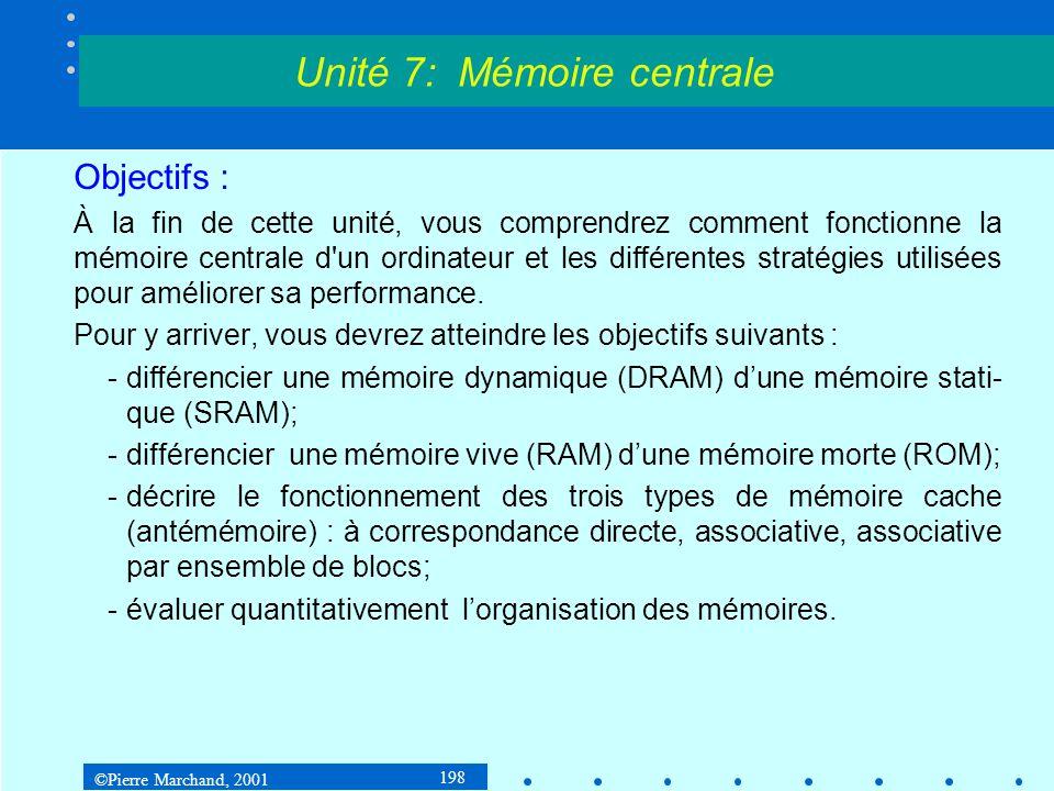 ©Pierre Marchand, 2001 199 7.1 Généralités et définitions 7.1.1 Hiérarchie des mémoires Les différents éléments de la mémoire dun ordinateur sont ordonnés en fonction des critères suivants : Temps daccès Capacité Coût par bit Unité 7: Mémoire centrale