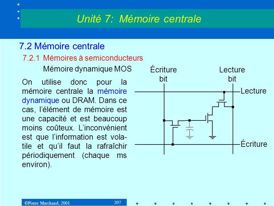 ©Pierre Marchand, 2001 207 7.2 Mémoire centrale 7.2.1Mémoires à semiconducteurs Mémoire dynamique MOS Unité 7: Mémoire centrale Écriture Lecture Écrit