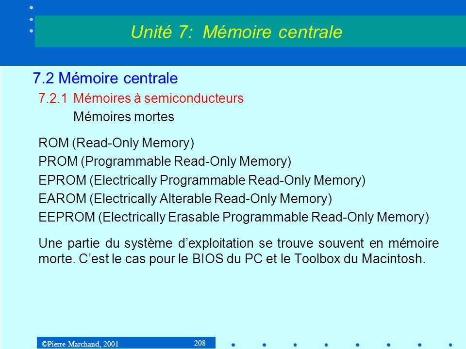 ©Pierre Marchand, 2001 208 7.2 Mémoire centrale 7.2.1Mémoires à semiconducteurs Mémoires mortes ROM (Read-Only Memory) PROM (Programmable Read-Only Me