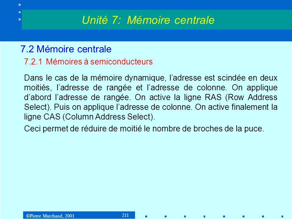 ©Pierre Marchand, 2001 211 7.2 Mémoire centrale 7.2.1Mémoires à semiconducteurs Dans le cas de la mémoire dynamique, ladresse est scindée en deux moit