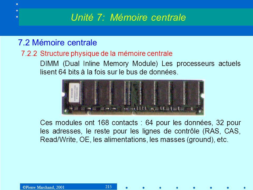©Pierre Marchand, 2001 215 7.2 Mémoire centrale 7.2.2Structure physique de la mémoire centrale DIMM (Dual Inline Memory Module) Les processeurs actuel