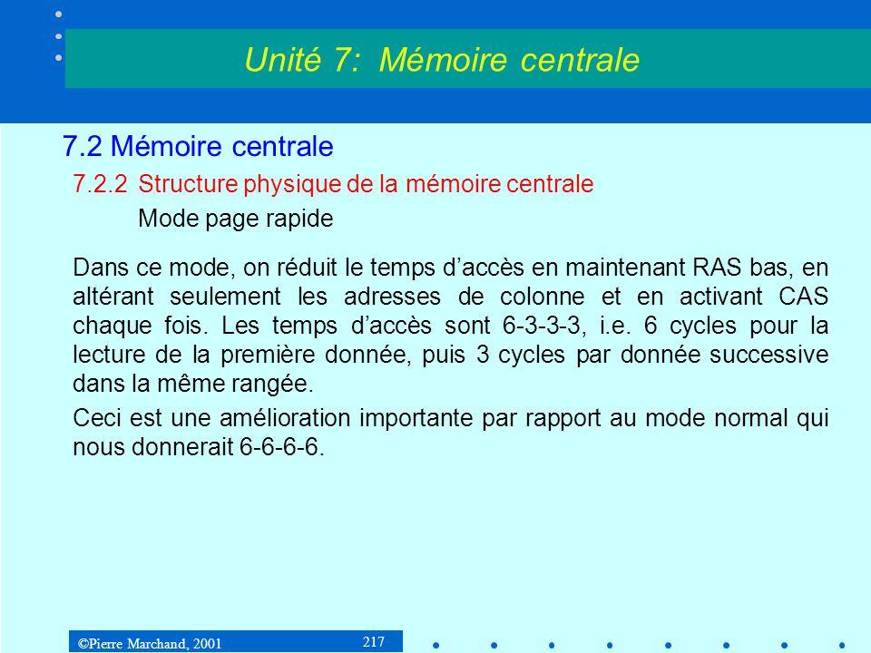©Pierre Marchand, 2001 217 7.2 Mémoire centrale 7.2.2Structure physique de la mémoire centrale Mode page rapide Dans ce mode, on réduit le temps daccè