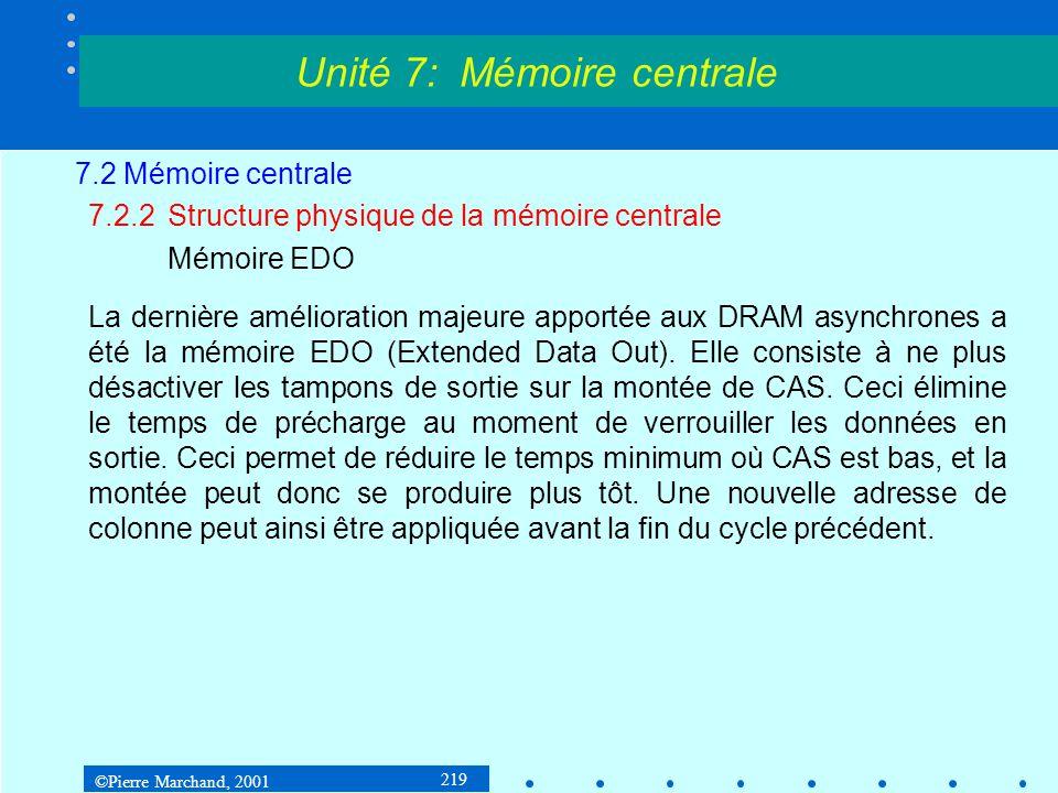 ©Pierre Marchand, 2001 219 7.2 Mémoire centrale 7.2.2Structure physique de la mémoire centrale Mémoire EDO La dernière amélioration majeure apportée a