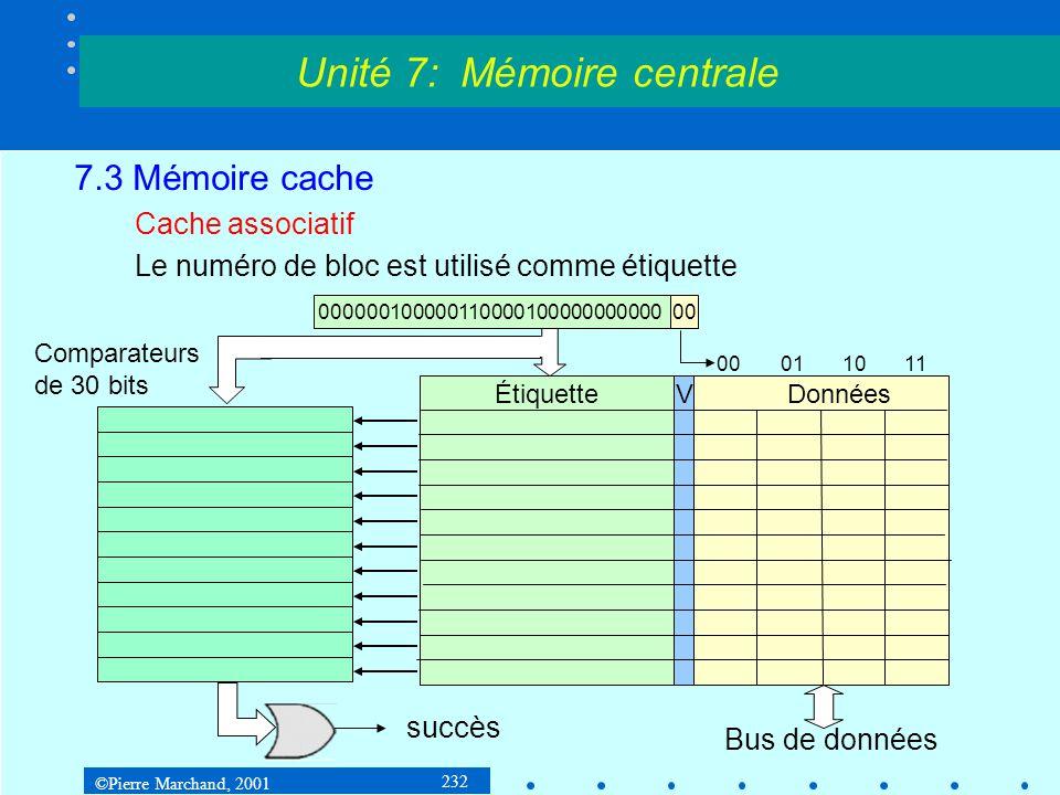 ©Pierre Marchand, 2001 232 7.3 Mémoire cache Cache associatif Le numéro de bloc est utilisé comme étiquette Unité 7: Mémoire centrale ÉtiquetteVDonnée