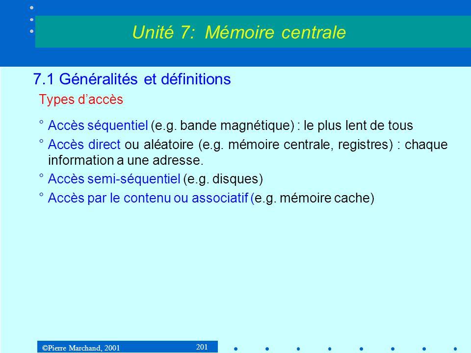 ©Pierre Marchand, 2001 201 7.1 Généralités et définitions Types daccès °Accès séquentiel (e.g. bande magnétique) : le plus lent de tous °Accès direct