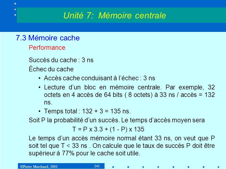 ©Pierre Marchand, 2001 241 7.3 Mémoire cache Performance Succès du cache : 3 ns Échec du cache Accès cache conduisant à léchec : 3 ns Lecture dun bloc
