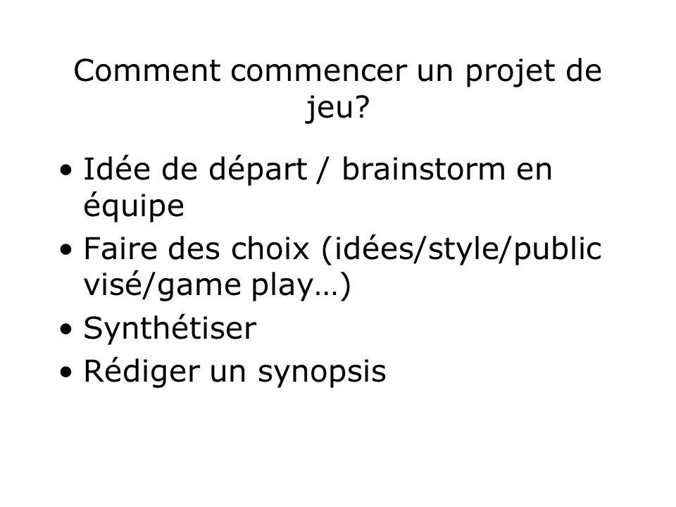 Comment commencer un projet de jeu? Idée de départ / brainstorm en équipe Faire des choix (idées/style/public visé/game play…) Synthétiser Rédiger un