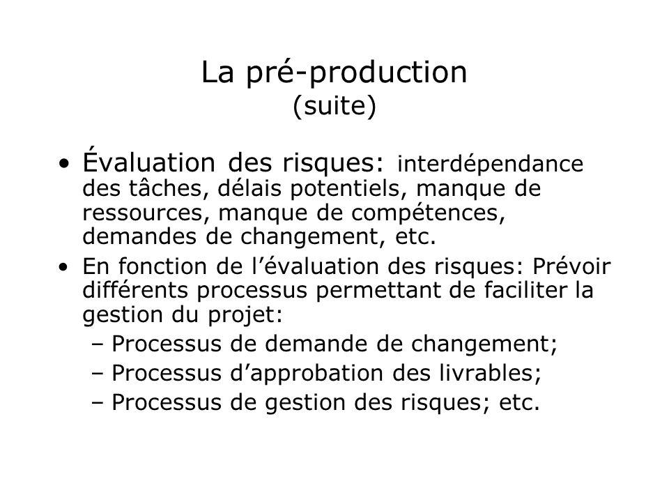 La pré-production (suite) Évaluation des risques: interdépendance des tâches, délais potentiels, manque de ressources, manque de compétences, demandes