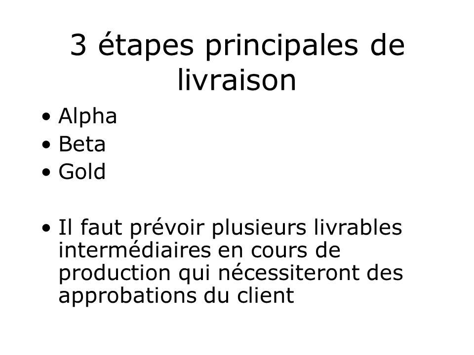 3 étapes principales de livraison Alpha Beta Gold Il faut prévoir plusieurs livrables intermédiaires en cours de production qui nécessiteront des appr