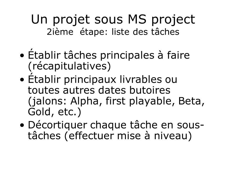 Un projet sous MS project 2ième étape: liste des tâches Établir tâches principales à faire (récapitulatives) Établir principaux livrables ou toutes au