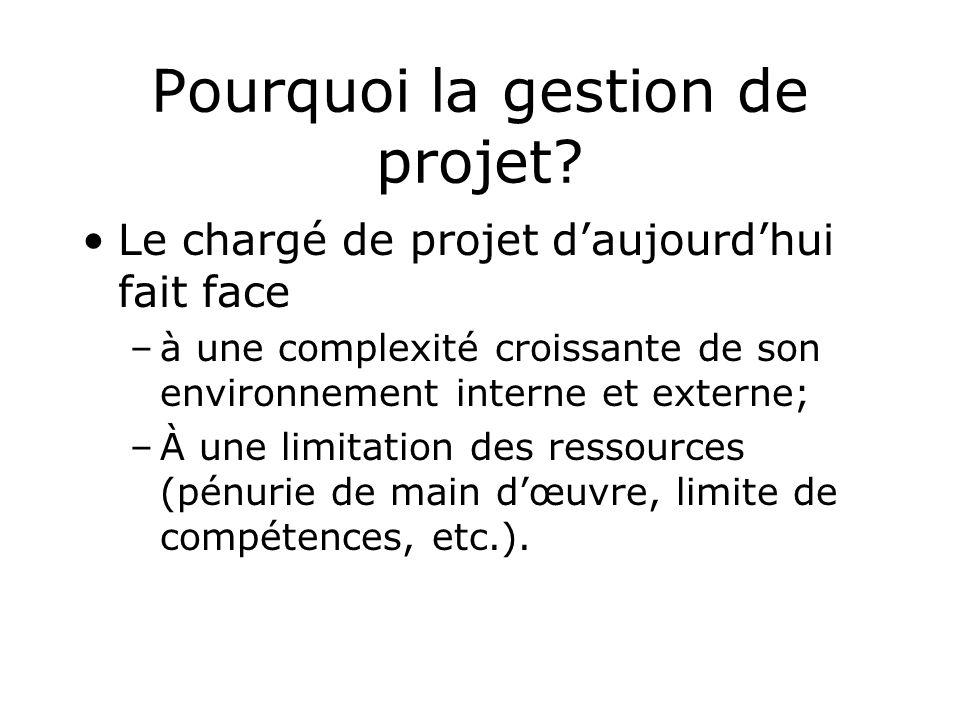 Pourquoi la gestion de projet? Le chargé de projet daujourdhui fait face –à une complexité croissante de son environnement interne et externe; –À une