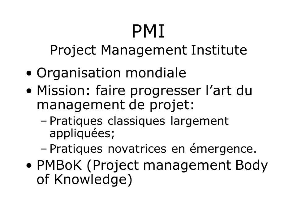 PMI Project Management Institute Organisation mondiale Mission: faire progresser lart du management de projet: –Pratiques classiques largement appliqu