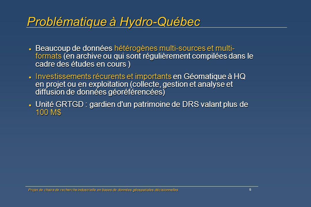 Projet de chaire de recherche industrielle en bases de données géospatiales décisionnelles 6 Problématique à Hydro-Québec Peu d accessibilité aux données Peu d accessibilité aux données Démocratisation des outils géomatiques partout à HQ (non initiés) Démocratisation des outils géomatiques partout à HQ (non initiés) Données spatialisables « non spatialisées » Données spatialisables « non spatialisées » Niveau de synthèse et d analyse faible Niveau de synthèse et d analyse faible Besoin d outils de prise de décision Besoin d outils de prise de décision Multiples solutions disponibles sur le marché, difficiles à analyser sans ressources de pointe et cadre de recherche Multiples solutions disponibles sur le marché, difficiles à analyser sans ressources de pointe et cadre de recherche
