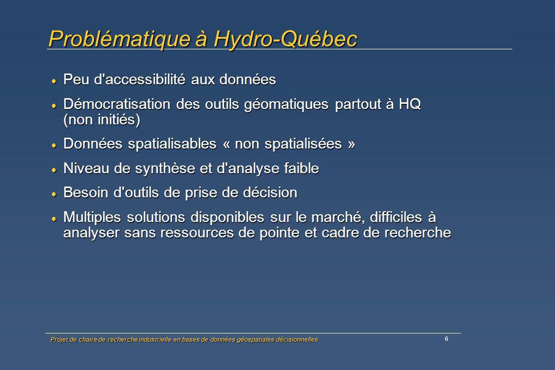 Projet de chaire de recherche industrielle en bases de données géospatiales décisionnelles 7 Options pour Hydro-Québec propre prospective (pas de ressources spécialisées dédiées) propre prospective (pas de ressources spécialisées dédiées) propre R&D (trop coûteux) propre R&D (trop coûteux) facturer au client (pas d intérêt car en mode projet; activité non propriétaire) facturer au client (pas d intérêt car en mode projet; activité non propriétaire) R&D à coûts partagés (partenaire industriel) R&D à coûts partagés (partenaire industriel)