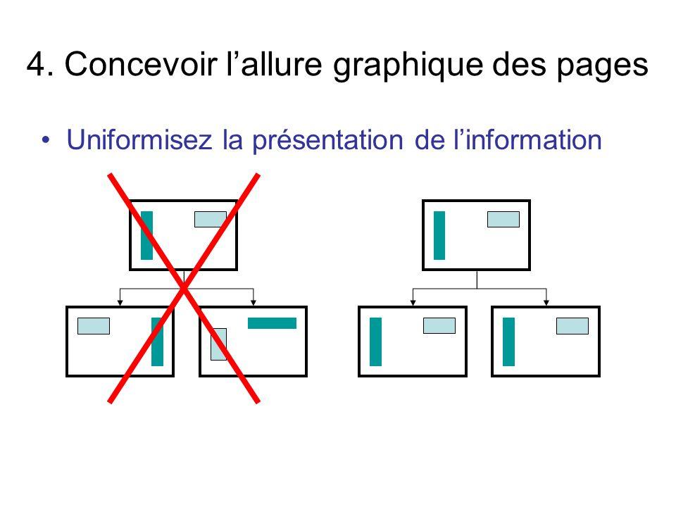 Uniformisez la présentation de linformation 4. Concevoir lallure graphique des pages