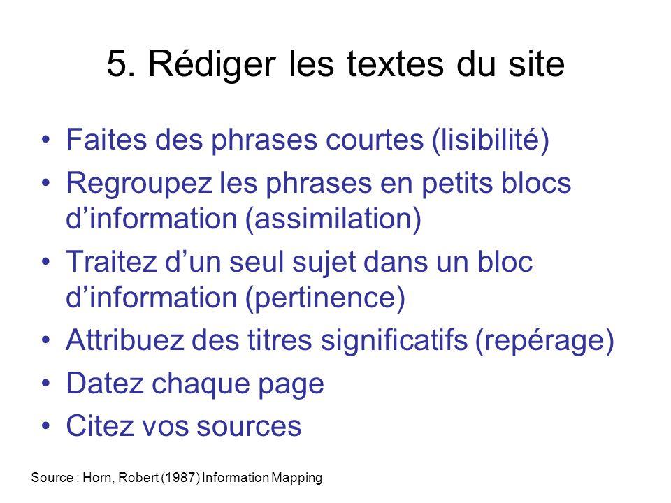5. Rédiger les textes du site Faites des phrases courtes (lisibilité) Regroupez les phrases en petits blocs dinformation (assimilation) Traitez dun se