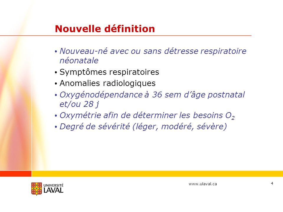 www.ulaval.ca 15 Physiopathologie Vitamine A Vit A atténue les effet de lO2 chez le rat nouveau-né Vit A réduit le déficit dalvéolarisation chez lagneau ventilé Ac rétinoïque induit une régénération alvéolaire dans des modèles animaux adultes