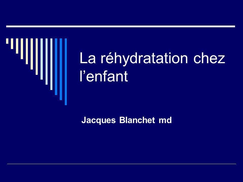 Retour au cas clinique Déshydratation légère à modérée: 750 à 1000 cc en 4 hrs 190 à 250 cc/hr 30 à 40 cc aux 10 minutes Cuillère, biberon, gobelet, seringue…