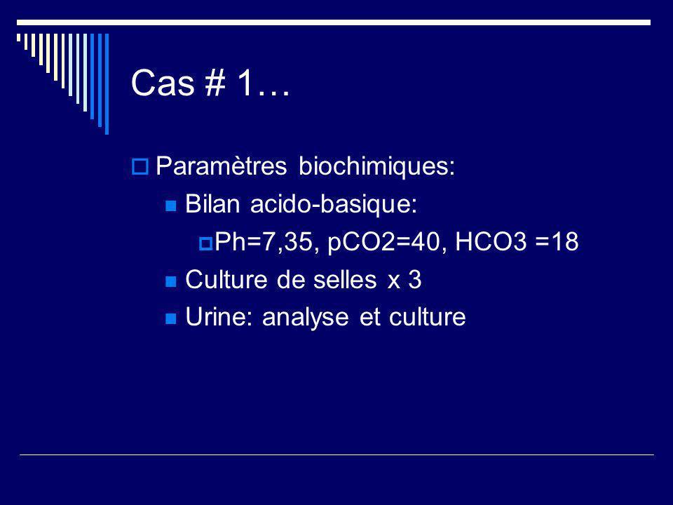 Cas # 1… Paramètres biochimiques: Bilan acido-basique: Ph=7,35, pCO2=40, HCO3 =18 Culture de selles x 3 Urine: analyse et culture