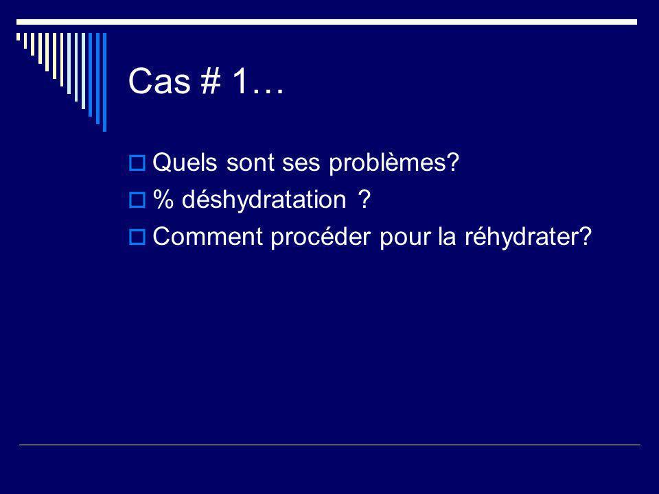Cas # 1… Quels sont ses problèmes? % déshydratation ? Comment procéder pour la réhydrater?