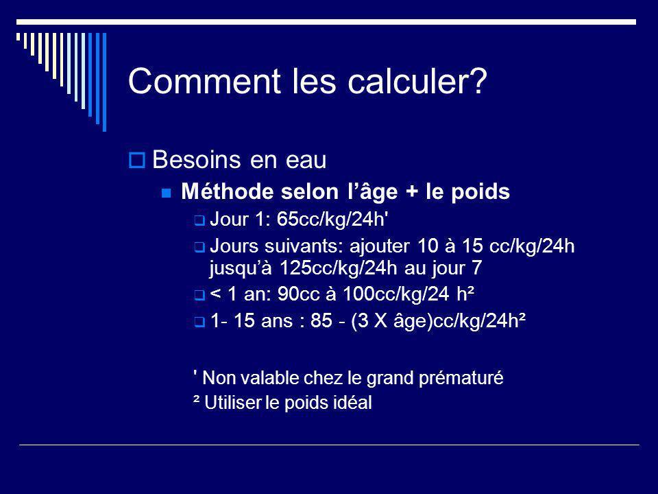Comment les calculer? Besoins en eau Méthode selon lâge + le poids Jour 1: 65cc/kg/24h' Jours suivants: ajouter 10 à 15 cc/kg/24h jusquà 125cc/kg/24h