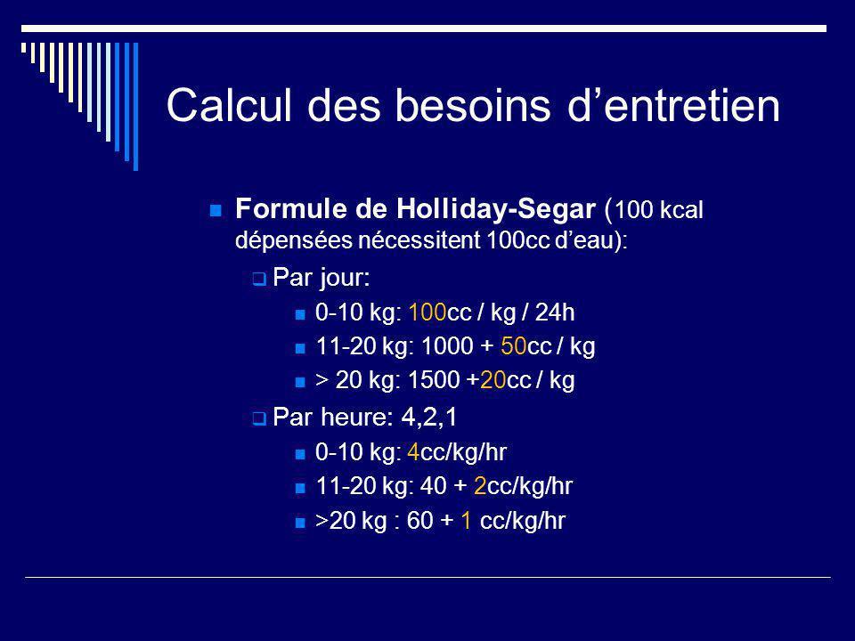 Calcul des besoins dentretien Formule de Holliday-Segar ( 100 kcal dépensées nécessitent 100cc deau): Par jour: 0-10 kg: 100cc / kg / 24h 11-20 kg: 10