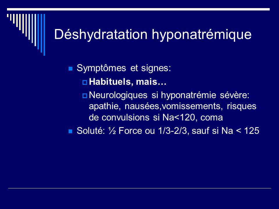 Déshydratation hyponatrémique Symptômes et signes: Habituels, mais… Neurologiques si hyponatrémie sévère: apathie, nausées,vomissements, risques de co