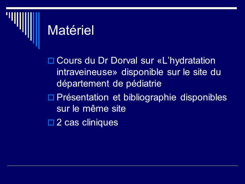 Déshydratation hyponatrémique sévère Choix du soluté: Si Na < 125 et présence de symptômes : NaCl 3% + D5% à 1-2 cc/kg/hr Na < 125 :NaCl 0.9% + D5% Na 125-130 mmol / L: NaCl 0.45% ( 77mmol/L )+ D5% Formule dAdrogue et Madias* *Adrogue HJ, Madias NE.