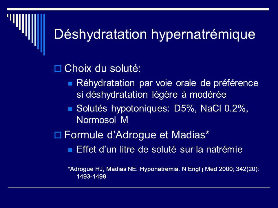 Déshydratation hypernatrémique Choix du soluté: Réhydratation par voie orale de préférence si déshydratation légère à modérée Solutés hypotoniques: D5