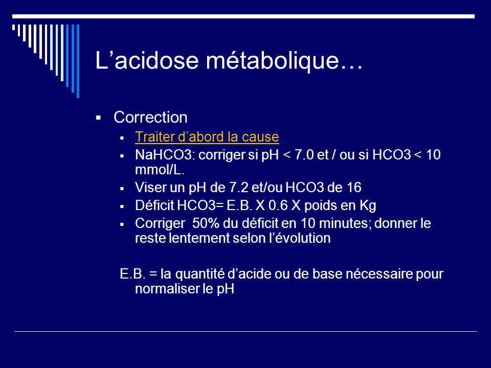 Lacidose métabolique… Correction Traiter dabord la cause NaHCO3: corriger si pH < 7.0 et / ou si HCO3 < 10 mmol/L. Viser un pH de 7.2 et/ou HCO3 de 16