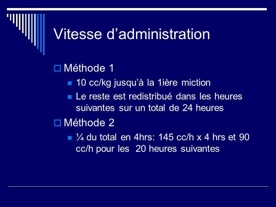 Vitesse dadministration Méthode 1 10 cc/kg jusquà la 1ière miction Le reste est redistribué dans les heures suivantes sur un total de 24 heures Méthod