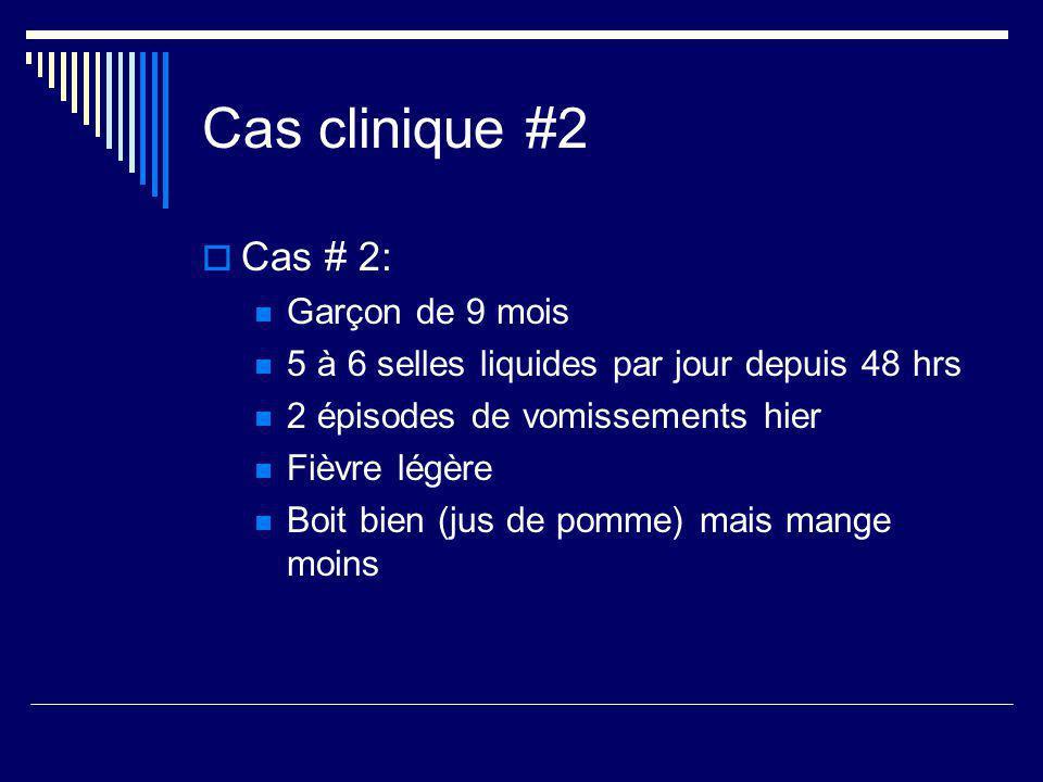Cas clinique #2 Cas # 2: Garçon de 9 mois 5 à 6 selles liquides par jour depuis 48 hrs 2 épisodes de vomissements hier Fièvre légère Boit bien (jus de