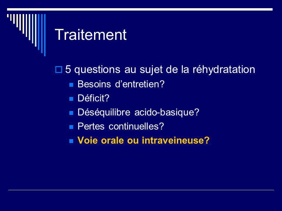 Traitement 5 questions au sujet de la réhydratation Besoins dentretien? Déficit? Déséquilibre acido-basique? Pertes continuelles? Voie orale ou intrav