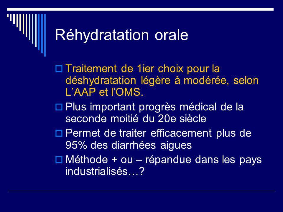 Réhydratation orale Traitement de 1ier choix pour la déshydratation légère à modérée, selon LAAP et lOMS. Plus important progrès médical de la seconde