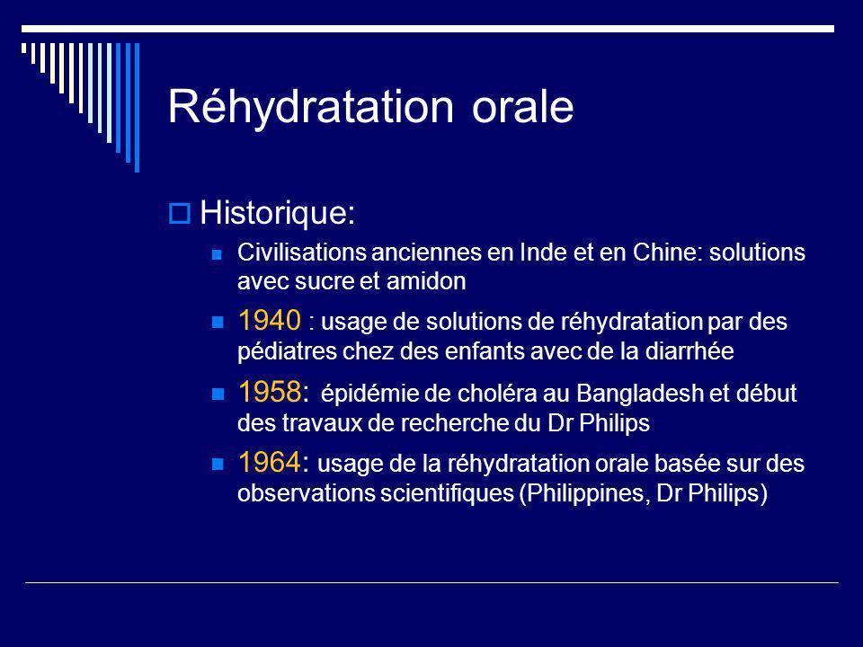 Réhydratation orale Historique: Civilisations anciennes en Inde et en Chine: solutions avec sucre et amidon 1940 : usage de solutions de réhydratation
