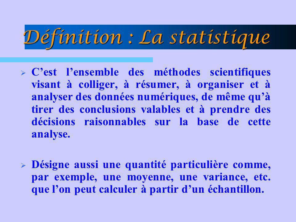 Définition : La statistique Cest lensemble des méthodes scientifiques visant à colliger, à résumer, à organiser et à analyser des données numériques,