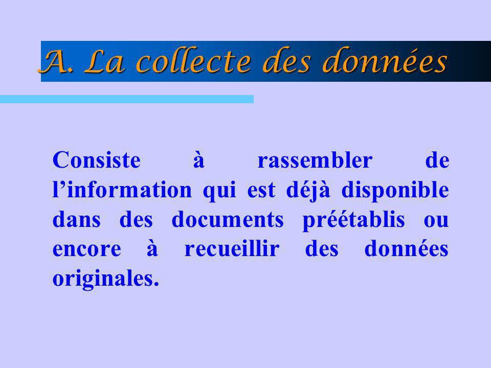 A. La collecte des données Consiste à rassembler de linformation qui est déjà disponible dans des documents préétablis ou encore à recueillir des donn