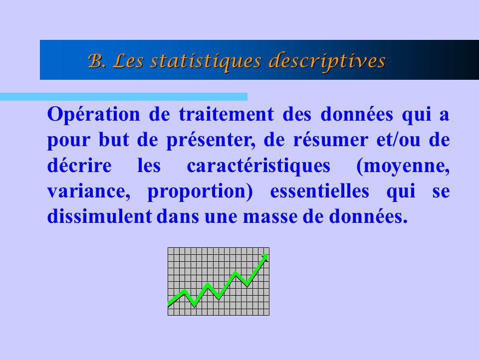 B. Les statistiques descriptives Opération de traitement des données qui a pour but de présenter, de résumer et/ou de décrire les caractéristiques (mo