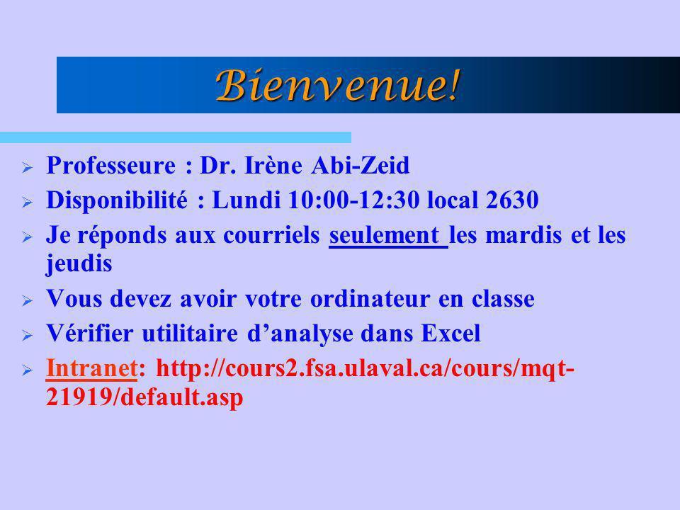 Bienvenue! Professeure : Dr. Irène Abi-Zeid Disponibilité : Lundi 10:00-12:30 local 2630 Je réponds aux courriels seulement les mardis et les jeudis V