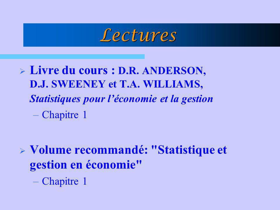 Lectures Livre du cours : D.R. ANDERSON, D.J. SWEENEY et T.A. WILLIAMS, Statistiques pour léconomie et la gestion –Chapitre 1 Volume recommandé: