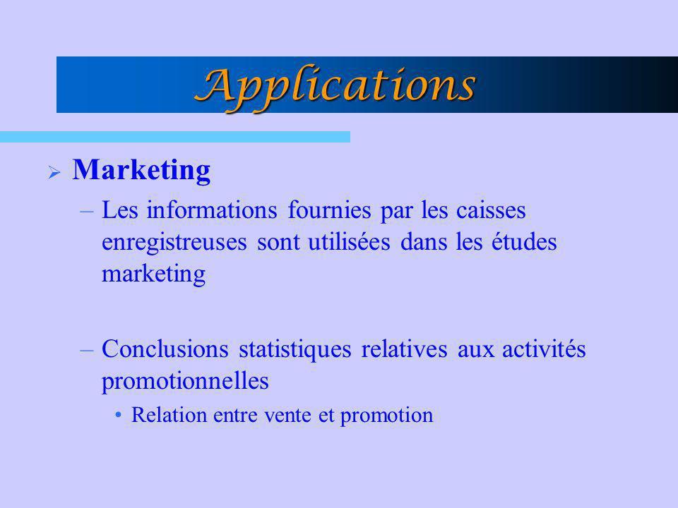 Applications Marketing –Les informations fournies par les caisses enregistreuses sont utilisées dans les études marketing –Conclusions statistiques re