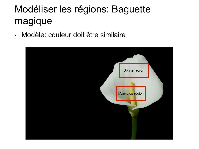 Modéliser les régions: Baguette magique Modèle: couleur doit être similaire Bonne région Mauvaise région